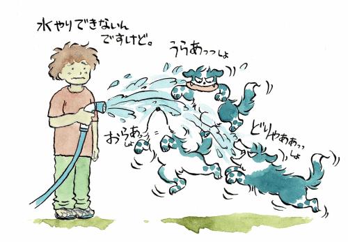 水やりのホースと戦う犬っころ